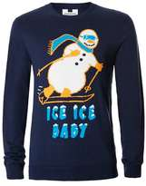 Topman Navy Skiing Snowman Ugly Sweater
