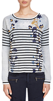 Oui Printed Stripe Jumper, Blue/Dark Blue