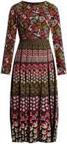 Saloni Nuri floral-print lace-trimmed pleated dress
