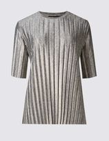 Marks and Spencer Pleated Foil Half Sleeve Jersey Top