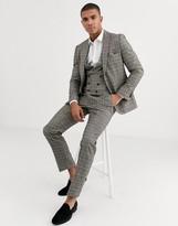Harry Brown slim fit brown overcheck suit jacket-Grey