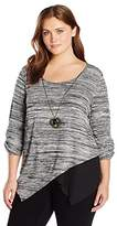 Amy Byer A. Byer Juniors Plus Size Asymmetrical Peek a Boo Top with Necklace