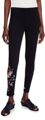 Johnny Was Kira Camo Stretch-Cotton Leggings w/ Embroidery
