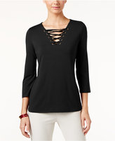 INC International Concepts Petite Velvet Lace-Up Top, Only at Macy's