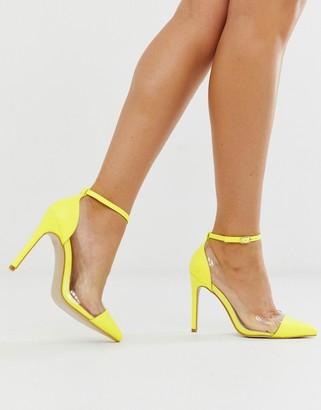 Public Desire Debut neon yellow court shoes