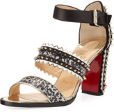 Christian Louboutin Montezumina Three-Strap Red Sole Sandal, Multi