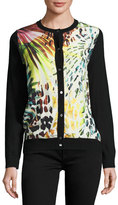 Neiman Marcus Leopard-Print Silk/Cashmere Bomber Cardigan