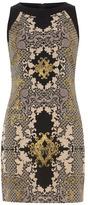 Navy baroque shift dress
