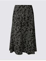 Classic Paisley Print A-Line Midi Skirt