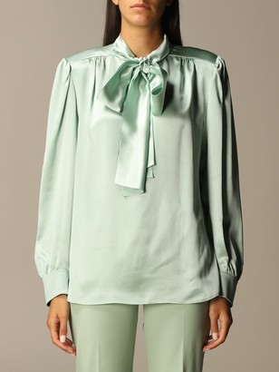 Alberta Ferretti Silk Chiffon Shirt With Sash