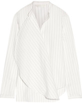 Dion Lee Draped Pinstriped Cotton-poplin Shirt - White