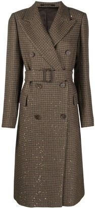 Tagliatore Sequin Embellished Double-Breasted Coat