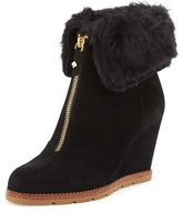 Kate Spade Stasia Shearling-Cuff Wedge Bootie, Black
