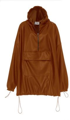 Studio Cut Faux Leather Hooded Sweatshirt