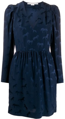 Stella McCartney Horse jacquard long-sleeved dress