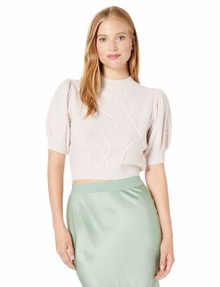 Keepsake Women's Smitten Short Puff Sleeve Knit Sweater Top