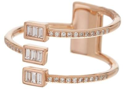 Ef Collection 14K Rose Gold Triple Baguette Diamond Twist Ring - Size 6 - 0.10 ctw