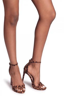 Linzi Gabriella Brown Leopard Suede Barely There Stiletto Heels With Slight Platform