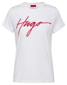 HUGO BOSS Cotton Jersey T Shirt With Handwritten Logo Print - White