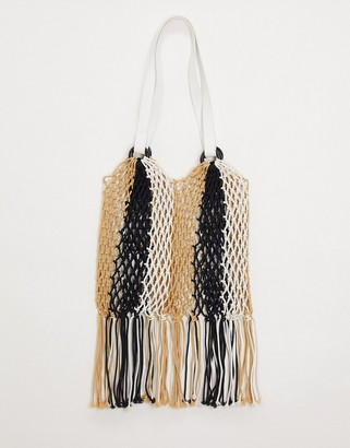 My Accessories London colourblock woven shopper bag with fringing