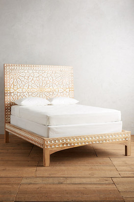 Anthropologie Handcarved Albaron Bed By in Brown Size KG TOP/BED