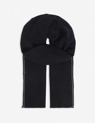 Eleventy Contrast-trim cashmere scarf
