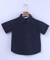 Beebay Boys' Button Down Shirts Navy - Navy Ditzy Button-Up - Newborn, Infant, Toddler & Boys