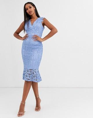 Lipsy premium corded lace midi dress-Blue