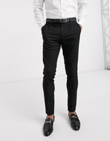 Asos Design DESIGN wedding super skinny suit trousers in micro texture in black