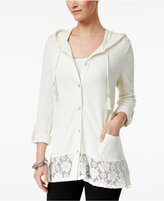 Style&Co. Style & Co Mixed-Media Roll-Tab Jacket, Created for Macy's