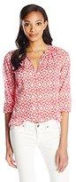 Velvet by Graham & Spencer Women's Printed Cotton Long Sleeve Shirt