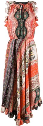 Etro Ruffle Trim Silk Midi Dress