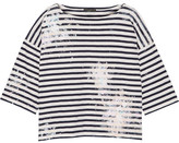 J.Crew Painted Striped Cotton-jersey Top - Midnight blue