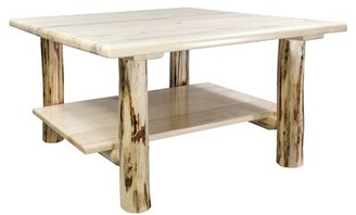 Loon Peak Tustin Solid Wood Coffee Table Color: Natural Lacquer Finish
