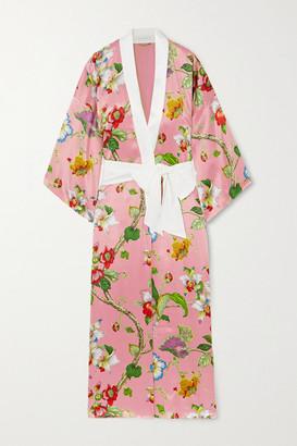 Olivia von Halle Queenie Floral-print Silk-satin Robe - Pink