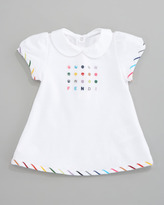 Fendi Embroidered Logo Short Dress, Sizes 12-24 Months