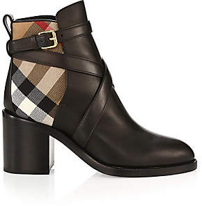 Burberry Women's Pryle House Check Leather Ankle Boots