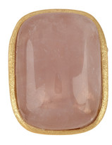 Rivka Friedman 18K Gold Clad Rose Quartz Cabochon Bold Rectangular Ring