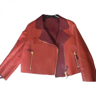 Tod's Orange Leather Leather Jacket for Women
