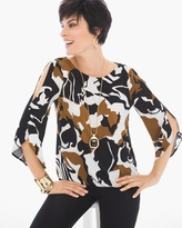 Chico's Abstract Floral Cold-Shoulder Top