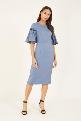 Yumi Blue Gypsy Frill Midi Dress