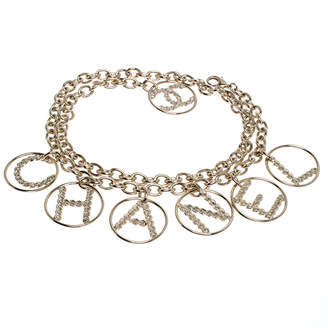 Chanel Crystal Gold Tone Chain Link Charm Belt