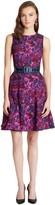 Oscar de la Renta Blurred Wild Rose Silk Seersucker Dress