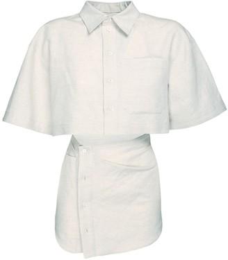 Jacquemus Cotton & Linen Mini Dress W/ Cutout