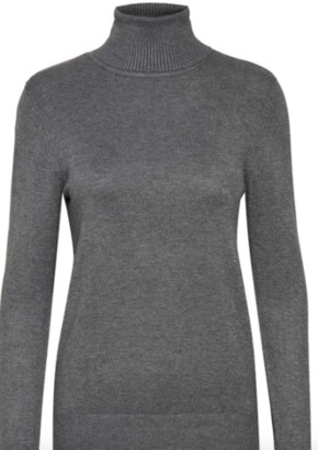 Saint Tropez Mila Rollneck Sweater Light Grey Pearl Grey Rust - S / Iron