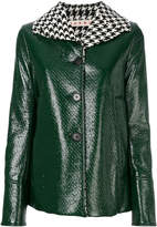 Marni houndstooth collar patent jacket