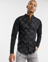 SikSilk muscle fit shirt with jersey sleeves in all over logo print