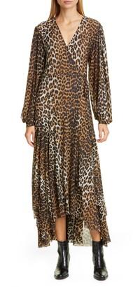 Ganni Leopard Print Mesh Long Sleeve Midi Dress