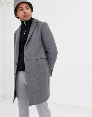 Asos DESIGN two-piece wool mix overcoat in light gray