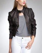 Gathered Sleeve Leather Jacket